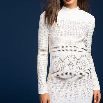 Stud Mock Neck Dress