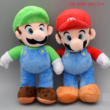 Super Mario party nes switch 10''25cm  Bros Luigi Plush Toys  Stand  Brother Stuffed Toys Soft Dolls F Children Red/Green Clothes AT_80_8