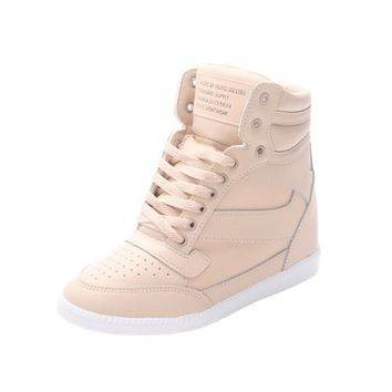 Muro Women's Hi Top Hidden Wedge Heel Fashion Sneaker (Medium (Us 7 ~ 7.5), Beige)