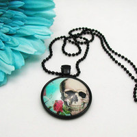 Sugar Skull Necklace - Sugar Skull Pendant - Cabochon Jewelry - Sugar Skull Jewelry - Punk Jewlery - Goth Jewelry - Alternative Jewelry