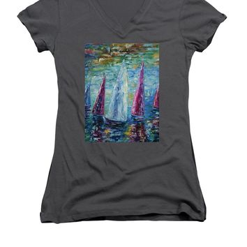 Sails To-night - Women's V-Neck T-Shirt
