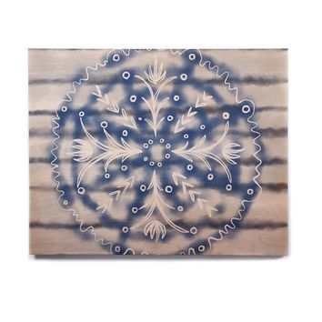 "Pellerina Design ""Indigo Mandala"" Blue Gray Painting Birchwood Wall Art"