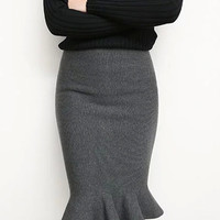 High Waist Knitted Fishtail Pencil Bodycon Midi Skirt