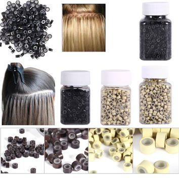 Micro Rings 4*3MM 200/500Pcs Micro Crimp Beads Micro Bead Hair Silicone Ring/Links/Beads For Hair Extensions 3 Colors