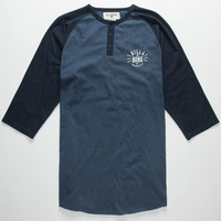 Billabong Bull Pin Mens Henley Heather Blue  In Sizes