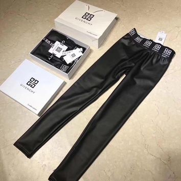 Givenchy Women Leather Tight Winter Wool Pants Trousers