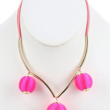 Pink Color Cord Wrapped Chunky Ball Charm Bib Necklace