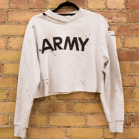 ARMY Cropped & Distressed Crewneck