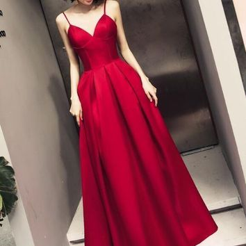 Beautiful Satin Prom Dresses Dark Red Straps Long Party Gowns Handmade Formal Gown 2019 Formal Dresses Prom Gowns G2592