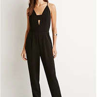Spaghetti Strap Deep V Natural Scales Jumpsuit [4920605956]