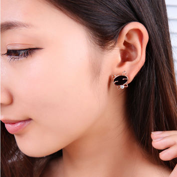 Hot Sale 2016 New ear fashion silver crystal stud earrings for women jewelry gift party cute smile cat Black