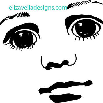 boy doll face clipart png clip art graphics Image Download eyes lips JPG PNG  digi stamp digital stamp black and white printables