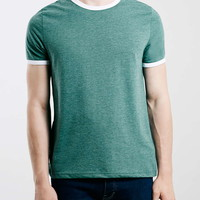 Green White Slim Fit Ringer T-Shirt - Topman
