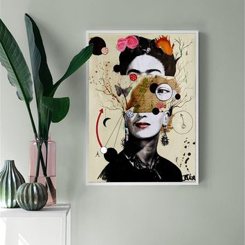 Abstract Canvas Painting frida kahlo Figure Nordic Wall Art Girls Poster Prints Decoration Pictures Living Room self portrait