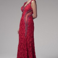 KC131562 Red Lace Prom Dress by Kari Chang Couture