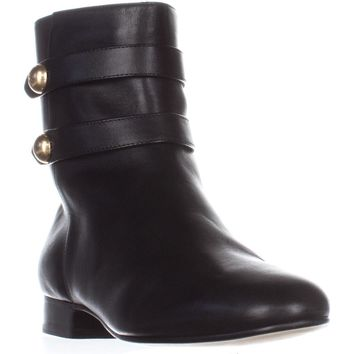 MICHAEL Michael Kors Maisie Flat Ankle Booties, Black Leather, 5 US / 35 EU