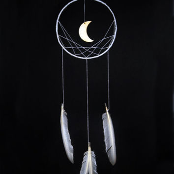 Minimalist dreamcatcher, white, wall hanging, wooden moon, white feathers, dream catcher, long, large, handmade, bedroom decor