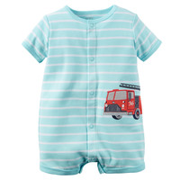 Baby Boy Carter's Striped Truck Applique Snap-Up Romper