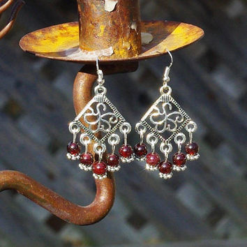 Garnet Earrings ~ Chandelier Earrings ~ Bohemian Red ~ Diamond Shape ~ Elegant Style ~ Gift for Mother In Law ~ Stone Jewellery ~ Meditation