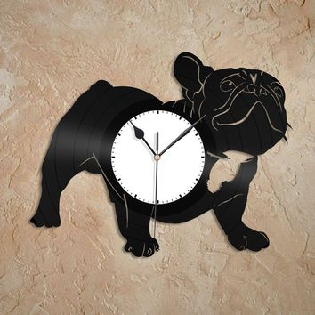 French Bulldog Clock Pet Clock Gift Bulldog Wall Clock Animals Clock Vinyl Record Art Pet Nursery Decoration Gift For Pet Lover Pet Gift