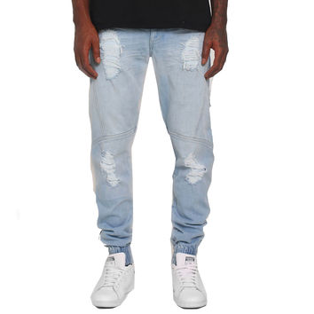 Repaired Distressed Denim Jogger In Light Blue