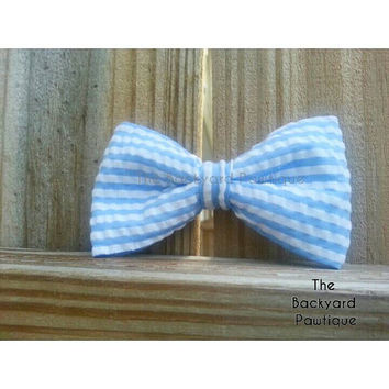 Seer sucker dog bowtie, blue bowtie, yellow bowtie, bowtie collar slider, stripe bowtie collar slider,  pet accessories,  collars for cats