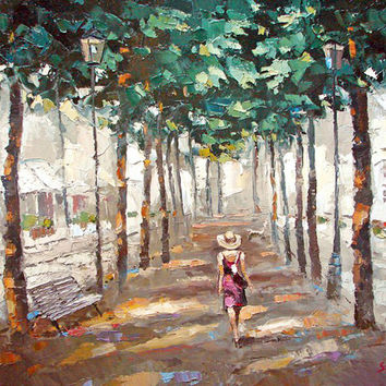 """Original painting """"Summer Alley"""" oil, acrylic Palette Knife Painting by Dmitry Spiros. Ready to Hang. 32 x 24 in. 80 x 60 cm"""