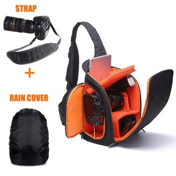 Camera Shoulder Bag Digital Video Photo Camera Sling Bags Box Cases Waterproof w/Rain Cover for DSLR Canon Nikon Sony Pentax D8