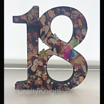 18th Birthday Present, Freestanding Number, Photo Present, 18th Keepsake, Special Birthday, Gift For Daughter, Gift for son, Best Friend 18