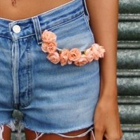 Pink Rose Festival Vintage Levi's Denim Shorts from Hellish Embellish Denim