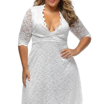 Womens Scalloped Trim White Plus Size Lace Dress