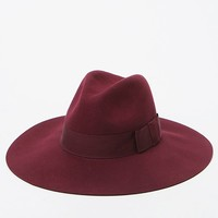 Brixton Wine Piper Wool Fedora Hat - Womens Hat - Red