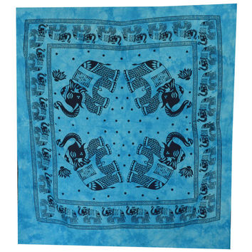 Elephant Mandala Tapestry, Hippie Wall Hanging, Indian Bohemian Tapestry, Gypsy Bed Cover, Elephant Wall Hanging, Turquoise Queen Bed Sheet