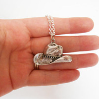 Silver Cowgirl Hat necklace Pendant