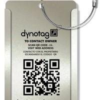 Dynotag® Web/GPS Enabled QR Smart Aluminum Convertible Luggage Tag w. Steel Loop in Six Colors