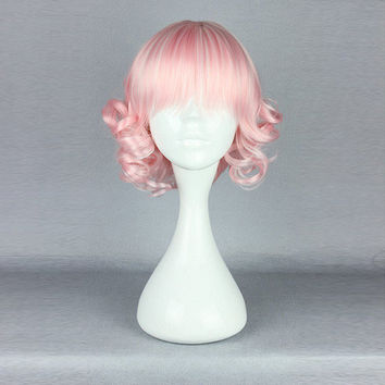 Pink High-Temperature Resistance Hair Cosplay Costume Wig Wavy Short Dreamlike