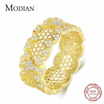 Modian New Arrivals Gold Color Honeycomb Clear Zirconia Fashion Jewelry 100% Real 925 Sterling Silver Ring For Women Best Gift
