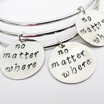 Three best friends No matter where bangle bracelets, charm bracelets, expandable bangle, charm bangle, 3 bff bracelet moving away, college