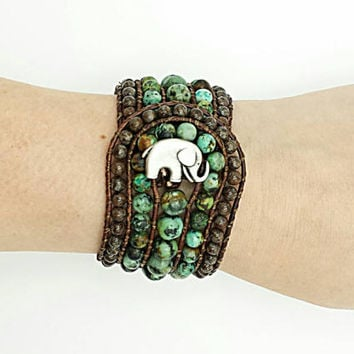 african turquoise leather wrap bracelet, beaded wrap bracelet, leather bracelet, gemstone leather wrap bracelet, elephant boho cuff bracelet