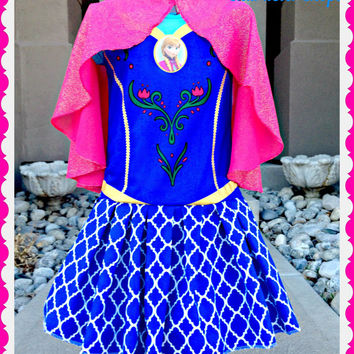 girls FROZEN Anna locket dress with glitter cape sizes 4 5 6 6X ready to ship today