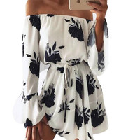 A sexy backless dress shoulder romper