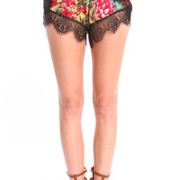 FLORAL PRINT LACE SHORTS - RED