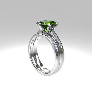 Engagement ring set, Peridot engagement, diamond wedding ring, solitaire, curved wedding band, green, unique engagement