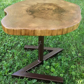 Live Edge Side Table- End Table- Tree Slice Table- Modern Table- Rustic Table- Tall Coffee Table- Log Table- Round Table- Industrial- Steel