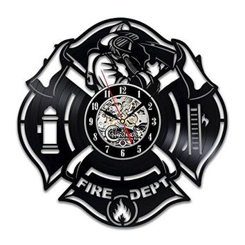 Fire Department Wall Clock Patch Badge Design Stickers Proffessional Decor Merchandise Life Fire Servise Profession Home Artwork Gifts