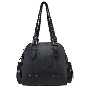 Braided Shoulder Bag Includes 3 Compartments with Zipper Enclosures - Black