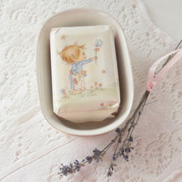Vintage Betsy Clark Soap Dish with Soap, Hallmark, Collectible, Bathroom Decor, Cottage Style, Little Girl's Bath Decor
