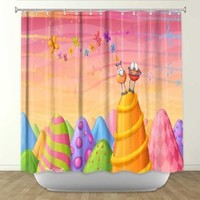 DiaNoche Designs Shower Curtains by Arist Toosh Toosh Unique, Cool, Fun, Funky, Stylish, Decorative Home Decor and Bathroom Ideas - Joy