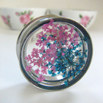 Plugs Gauge Flower Shimmer Sparkly Iridescent Reflective Handmade Unique Custom Ear Tunnels Reversible