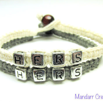 Hers and Hers Bracelets for LGBT Couples, White and Grey Hemp Jewelry